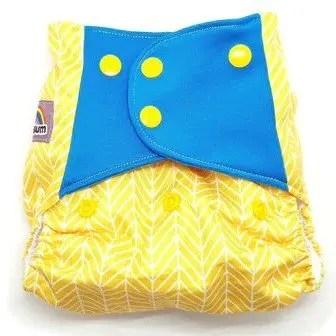 Yellow herringbone nappy