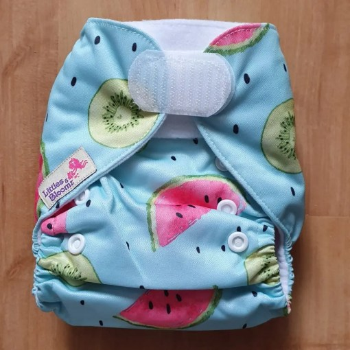 Watermelon and Kiwi Littles & Bloomz newborn nappy