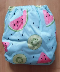 Rear of Watermelon and Kiwi Littles & Bloomz newborn nappy