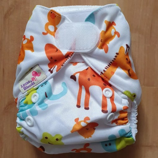 Safari Animals print Littles & Bloomz newborn nappy