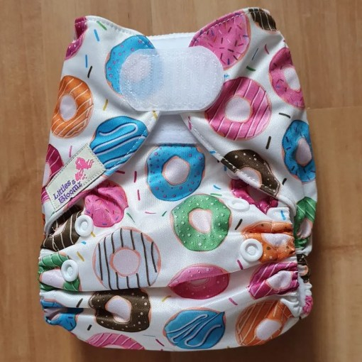 Donut print Littles & Bloomz newborn nappy