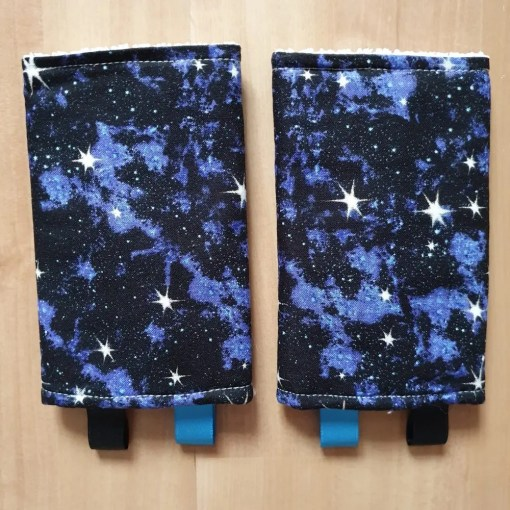 Suck pads with a blue galaxy star print