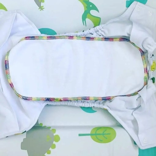 rainbow stitched liner in the pocket nappy