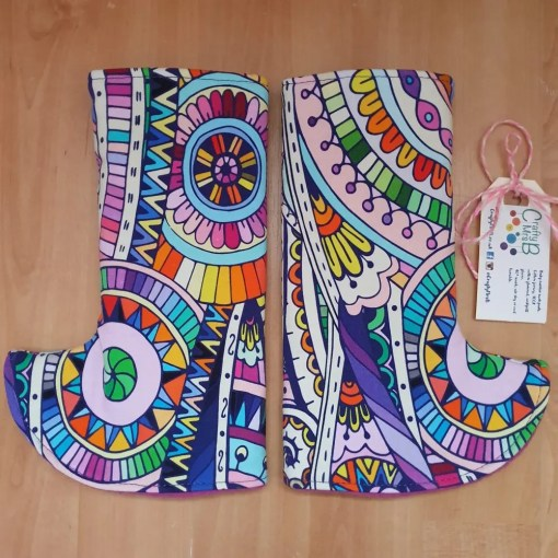 Brightly coloured mandala print suck pads