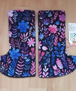 pink, purple and blue floral curved suck pads