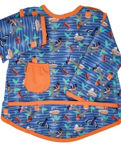 Coverall bib in a bird design showing long sleeves and pocket