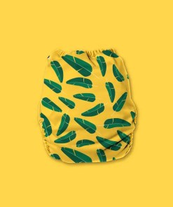 Nappy with yellow background with two-tone green banana leaves
