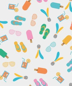Light grey background with colourful flip-flops, ice lollies, cold drinks and sunglasses