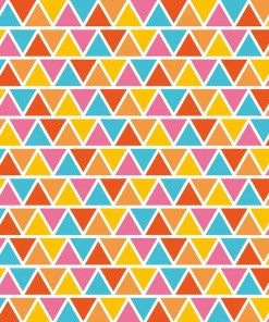 Colourful triangle pattern in shades of yellow, blue, pink, orange and white