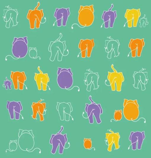 Light green nappy with orange, yellow and purple elephants