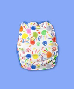 Hippynut nappy with a white background with colourful painted baby handprints