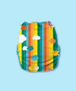 Rear of Hippynut nappy with vertical rainbow stripes and cloud print