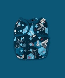Hippynut nappy in dark blue with turtles and coral illustrations