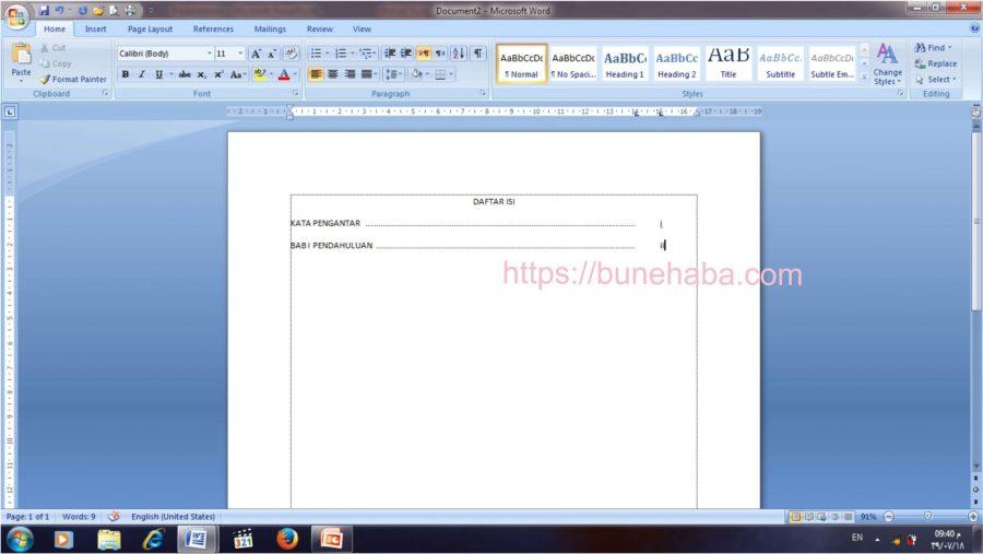 contoh daftar isi dan cara membuat daftar isi 4