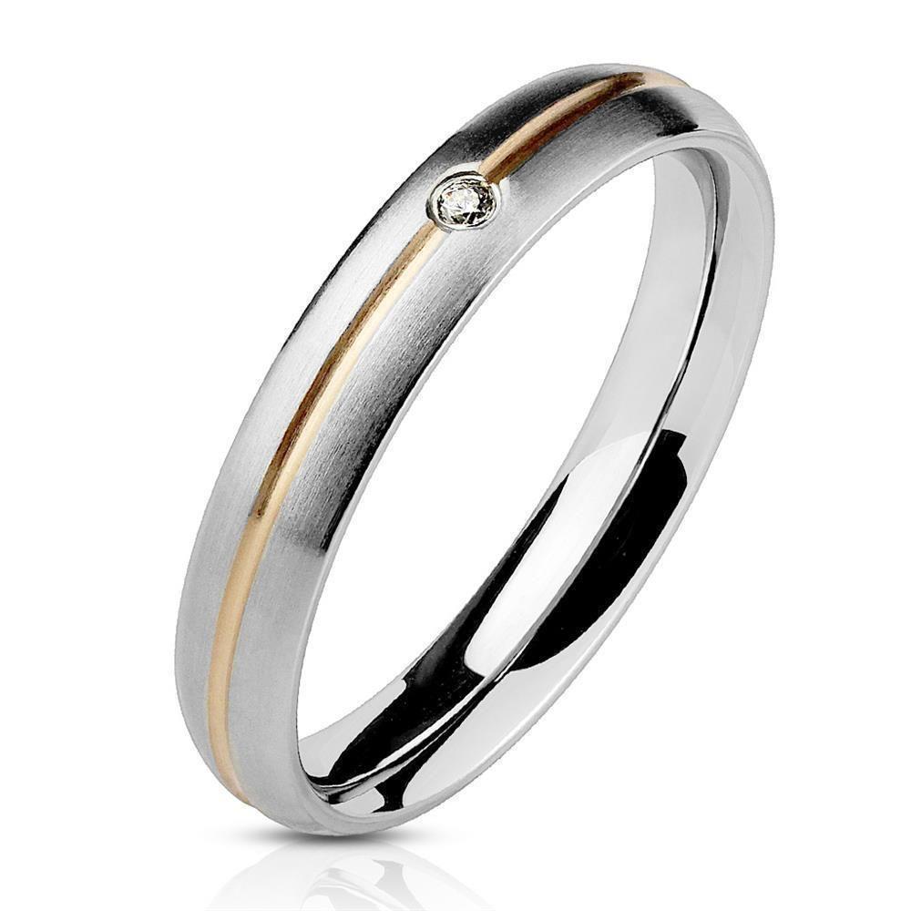 Ring zweifarbig Silber aus Edelstahl Damen 995