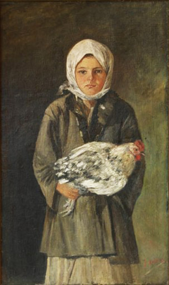 The Little Girl with the Hen