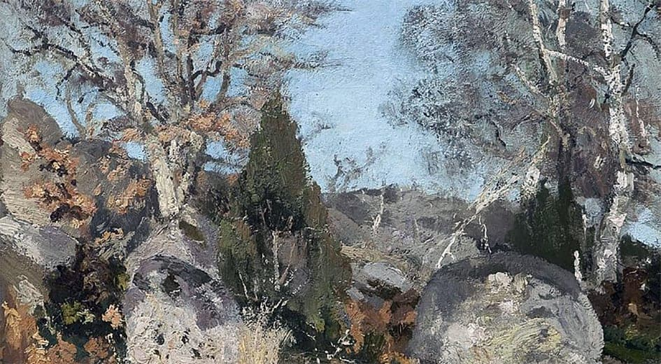 Rocks and Birch Trees - detail