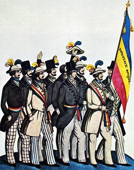 1848 Studenți români la Paris, prezentând guvernului revoluționar francez steagul lor cu mențiunile Dreptate Frăție. Acuarelă de C. Petrescu