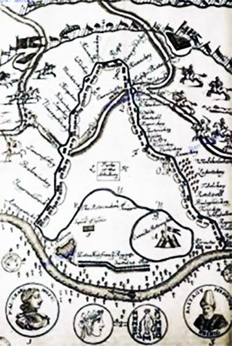 1711 Planul Bătăliei De La Stănileşti Gravură Din Epocă
