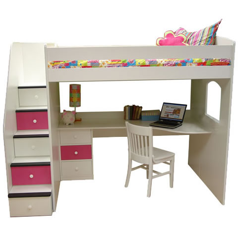 Berg Furniture Utica Full Size Loft With Study Station