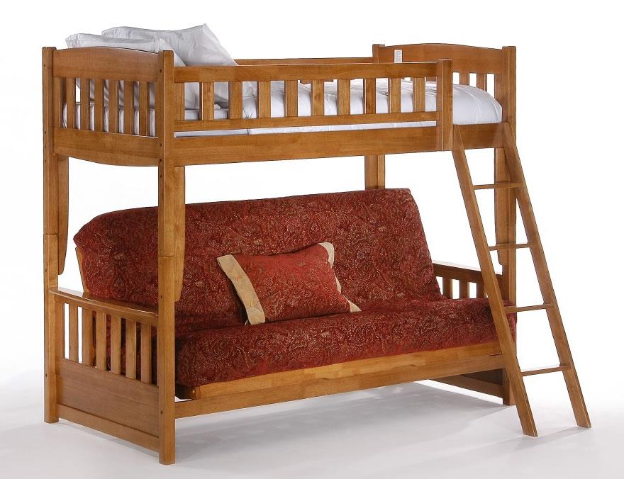 Night and Day Cinnamon Twin over Futon Bunk Bed in Medium Oak