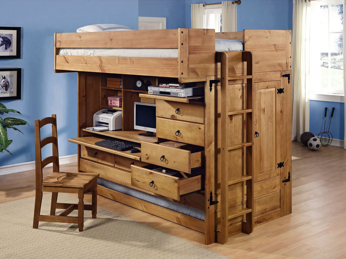 Powell Rustica All in One Full Loft Bed with Storage and Computer Desk