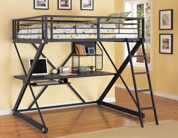 Powell -bedroom Full Size Metal Loft Bed With Study Desk