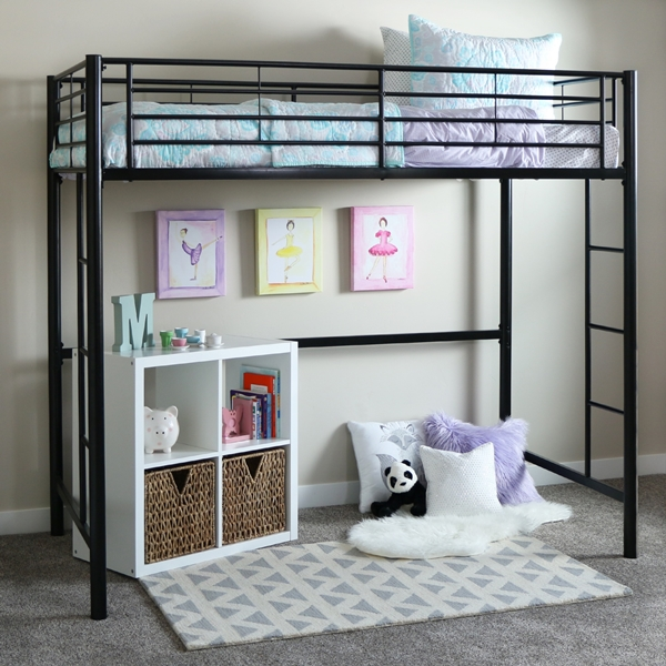 Black Metal Twin Size Loft Bed Free Shipping Offer