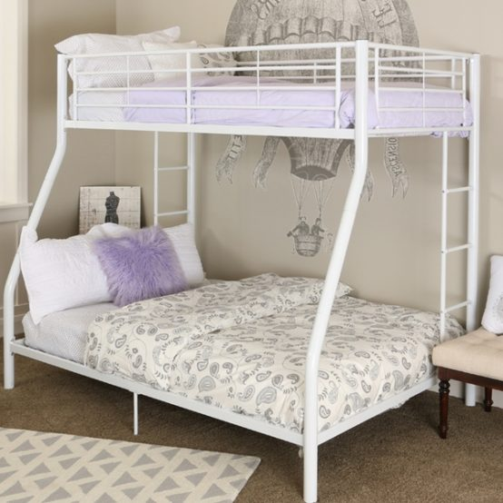 Sturdy Twin Over Full White Metal Bunk Bed