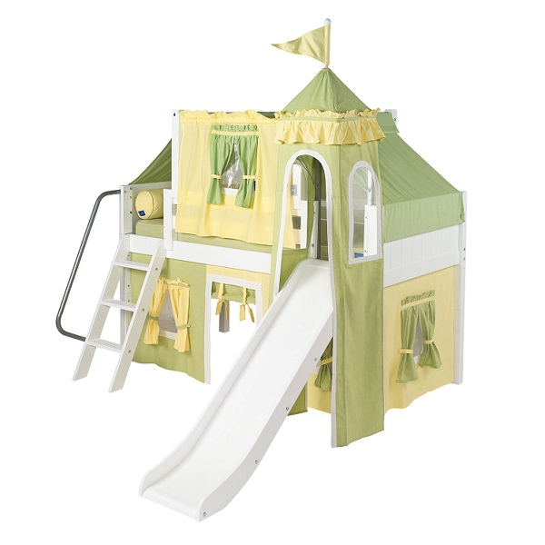 tent bed twin low loft bed with angle ladder slide top tent castle tower and under bed curtains wow 24