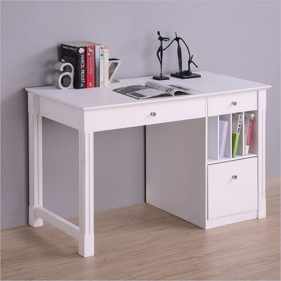 White Desk  Student Storage Desk wKeyboard Tray
