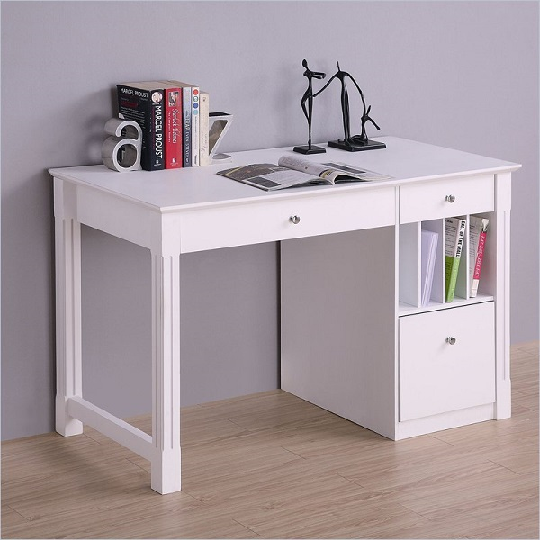 White Desk  Student Storage Desk wKeyboard Tray