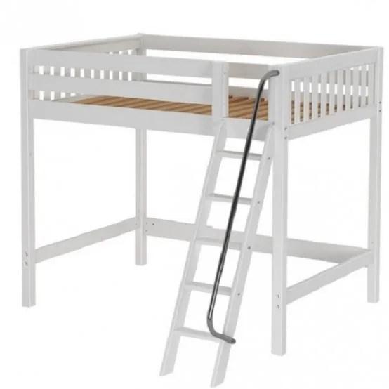 Wooden White Slat High Loft Bed Full Size