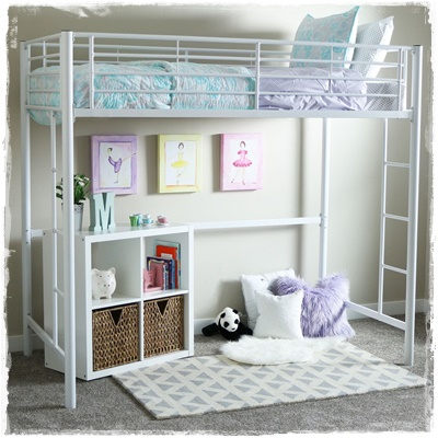 Twin Metal Loft Beds  Sturdy Loft Beds for Teens  Adults