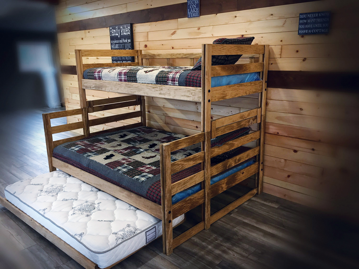 Single Xl Top Queen Bottom Bunk Bed With Single Trundle