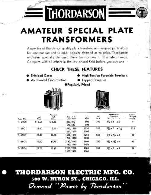small resolution of thordarson t 16 series amateur radio plate types