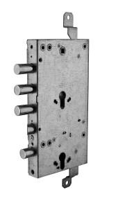 serratura triplice doppio cilindro ad ingranaggio reversibile