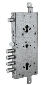 serratura triplice doppio cilindro ad ingranaggio con scrocco superiore reversibile