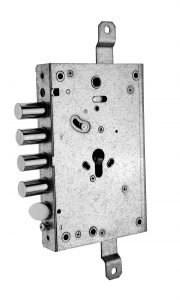 serratura triplice con maniglia blocca/sblocca a mandate