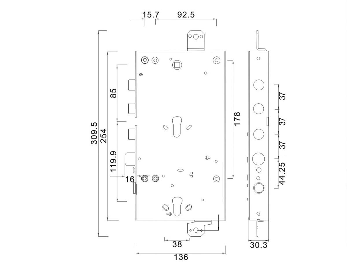 serratura triplice doppio cilindro ad ingranaggio reversibile 3 pistoni