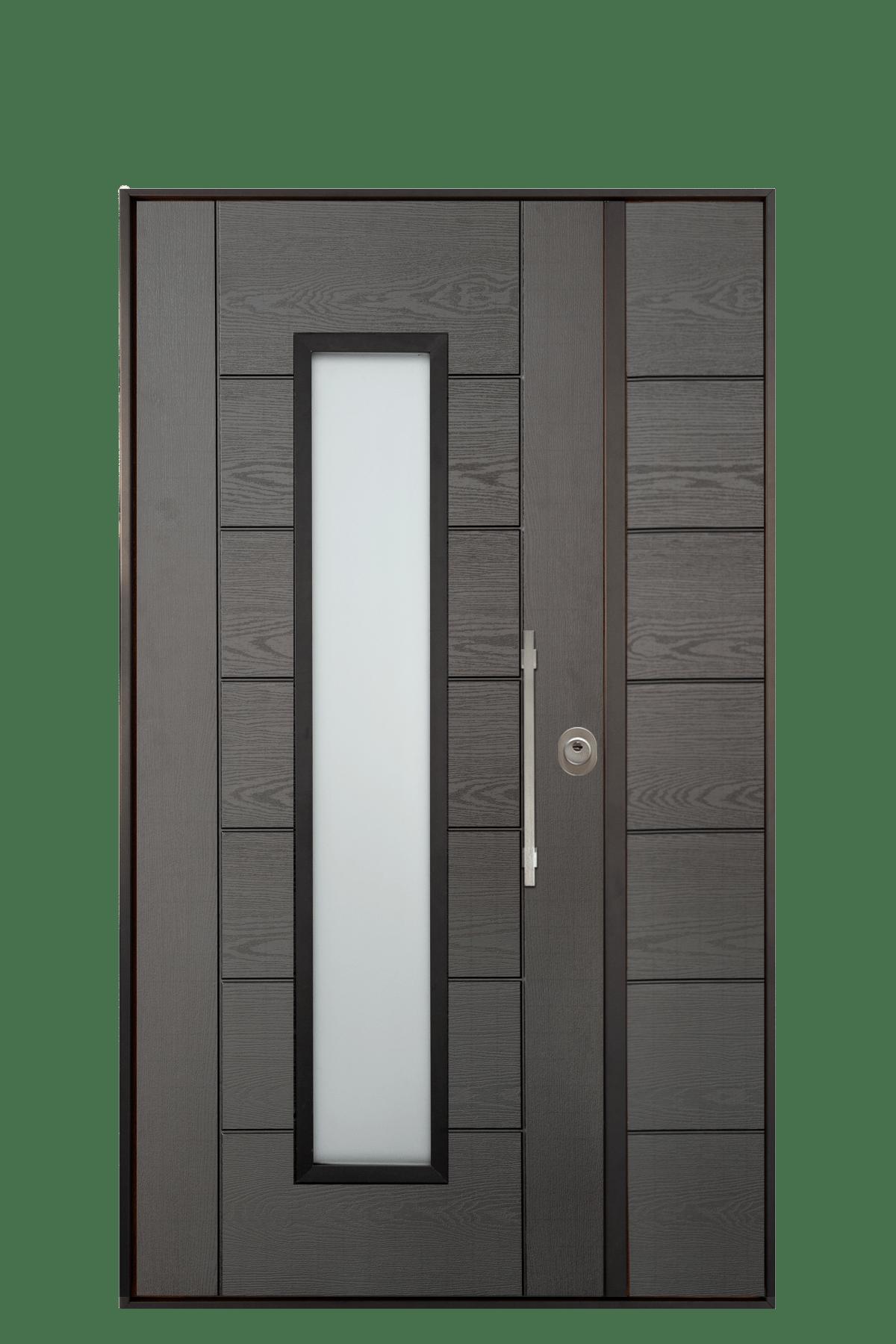 porta blindata con vetro moderna grigia helios