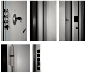 Dettagli porta blindata Bunker full white: cerniere, profili, telaio e pannello