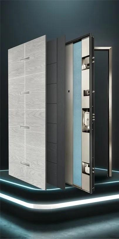 Porta blindata Kosmoinox realizzata interamente in acciaio inox Aisi 304, totalmente inossidabile, antiruggine