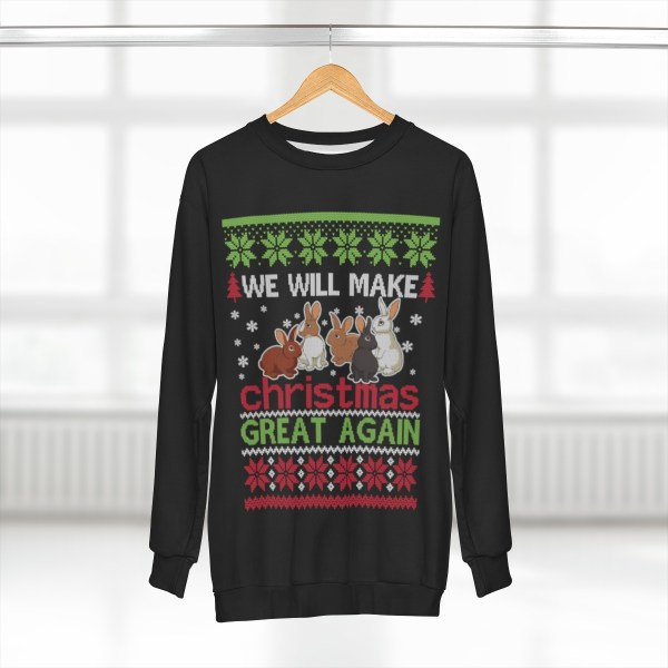 Rabbits Will Make Christmas Great Again – AOP Unisex Sweatshirt