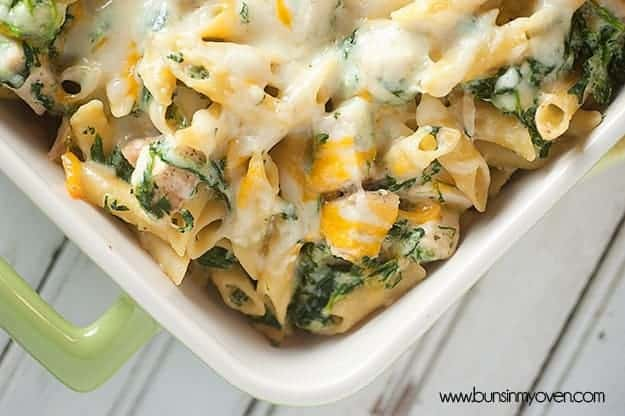 Cheesy pasta that tastes like my favorite spinach artichoke dip!
