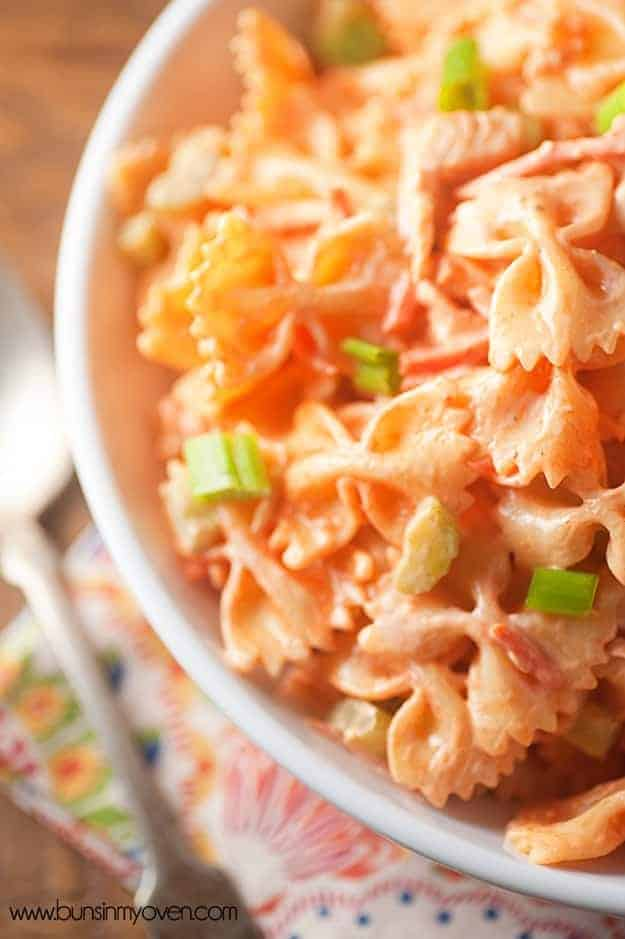 Jul 09, · This Buffalo Chicken Pasta Salad is a tangy, creamy pasta salad with chicken, shell pasta, celery, carrots, and tomatoes, covered in a creamy sauce made with spicy Buffalo Wing Sauce, like Frank's Hot Sauce, and ranch dressing with bleu cheese crumbles.5/5(1).