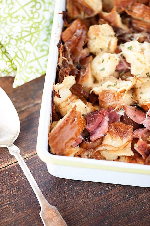 savory bread pudding with ham cheese and caramelized onions mdash buns