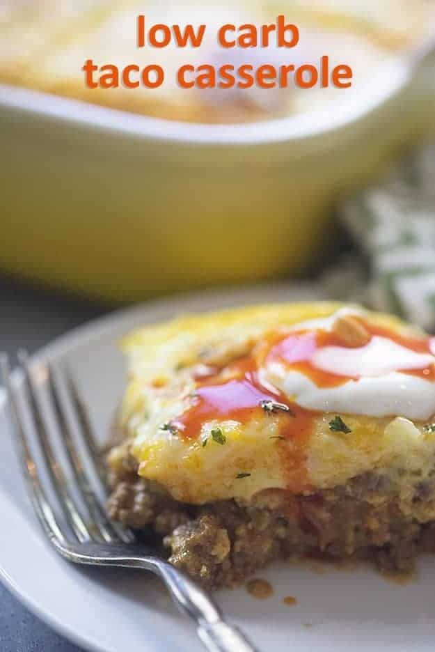 My whole family loves this low carb casserole! It's loaded with taco meat, cheese, and all kinds of good stuff!