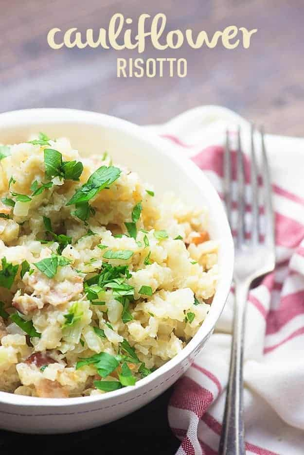 If you've ever wondered how to make risotto low carb, you're going to love this cauliflower risotto recipe! It's one of my favorite low carb side dishes! #lowcarb #keto #cauliflower #risotto #recipes #sidedish