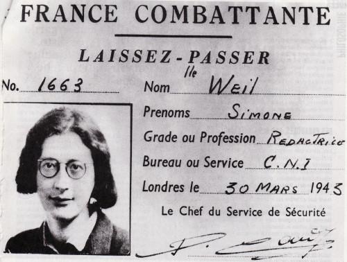 Lasciapassare per l'ingresso a Londra di Simone Weil (1943).